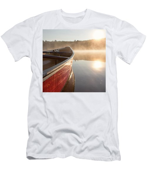 Red Canoe On Misty Lake Men's T-Shirt (Athletic Fit)