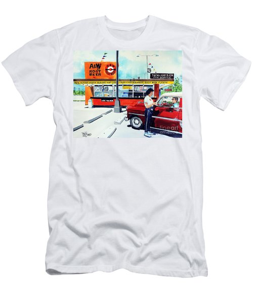 Men's T-Shirt (Slim Fit) featuring the painting Red Car At The A And W by Tom Riggs