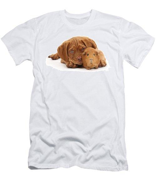 Red Guinea Pig And Dogue De Bordeaux Men's T-Shirt (Athletic Fit)