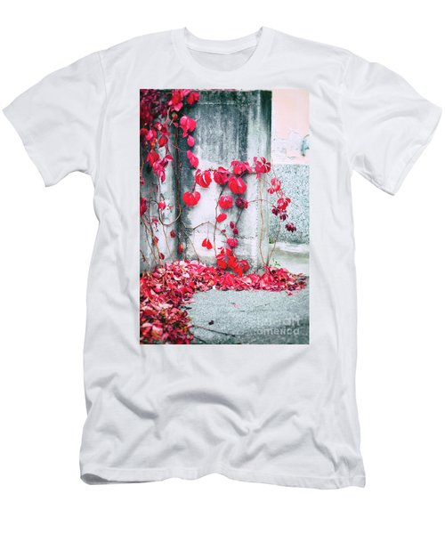 Men's T-Shirt (Slim Fit) featuring the photograph Red Ivy Leaves by Silvia Ganora