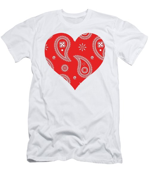 Men's T-Shirt (Athletic Fit) featuring the digital art Red Paisley by Becky Herrera