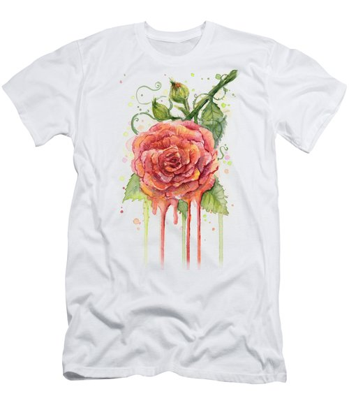 Red Rose Dripping Watercolor  Men's T-Shirt (Slim Fit) by Olga Shvartsur
