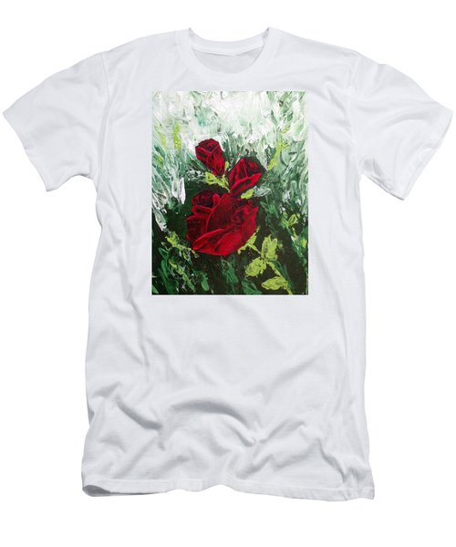 Red Roses In Bloom Men's T-Shirt (Slim Fit) by Roxy Rich