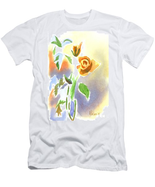 Red Roses With Holly In A Vase Men's T-Shirt (Slim Fit) by Kip DeVore