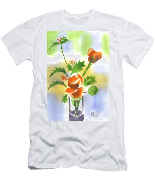 Men's T-Shirt (Slim Fit) featuring the painting Red Roses With Holly by Kip DeVore