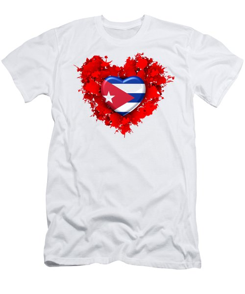 Red Stain Love To Cuba Men's T-Shirt (Athletic Fit)