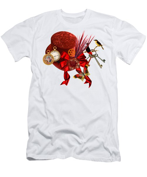 Red Steampunk Top Hat Art Men's T-Shirt (Athletic Fit)