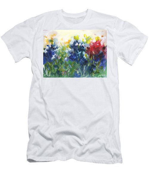Red White And Bluebonnets Watercolor Painting By Kmcelwaine Men's T-Shirt (Slim Fit) by Kathleen McElwaine