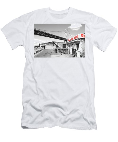 Reds Java House And The Bay Bridge In San Francisco Embarcadero . Black And White And Red Men's T-Shirt (Athletic Fit)