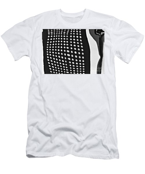 Men's T-Shirt (Slim Fit) featuring the photograph Reflection On 42nd Street 1 Grayscale by Sarah Loft