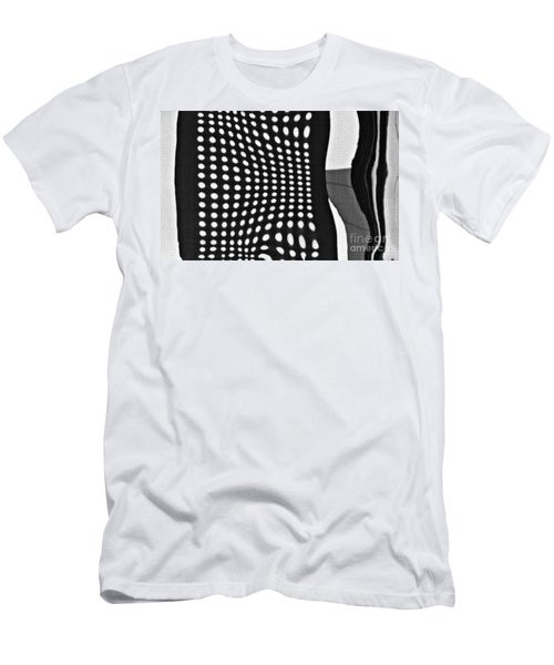 Men's T-Shirt (Slim Fit) featuring the photograph Reflection On 42nd Street 2 Grayscale by Sarah Loft