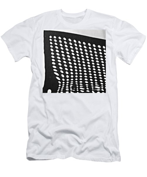 Men's T-Shirt (Slim Fit) featuring the photograph Reflection On 42nd Street 3 Grayscale by Sarah Loft