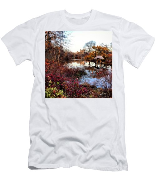 Men's T-Shirt (Slim Fit) featuring the photograph Reflections On A Winter Day - Central Park by Madeline Ellis