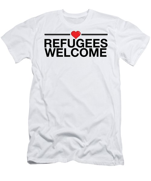 Refugees Wecome Men's T-Shirt (Athletic Fit)
