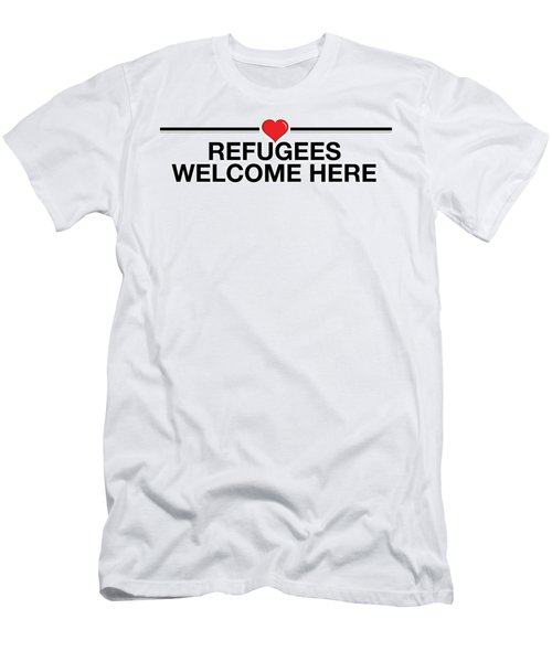 Refugees Welcome Here Men's T-Shirt (Athletic Fit)