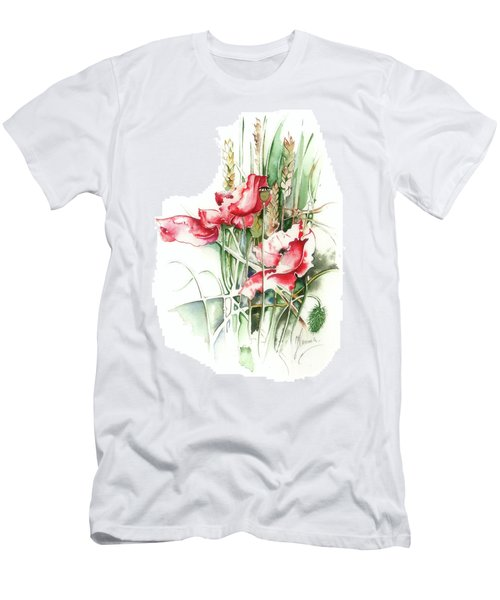 Men's T-Shirt (Slim Fit) featuring the painting Residents Of Green Fields by Anna Ewa Miarczynska