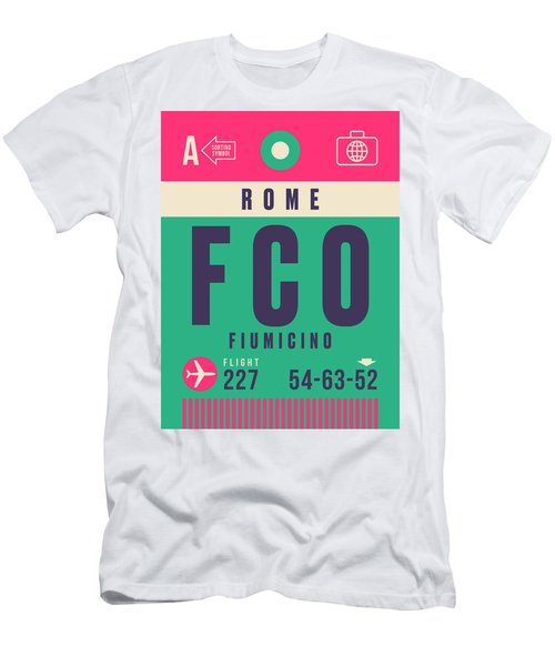 Retro Airline Luggage Tag - Fco Rome Fiumicino Men's T-Shirt (Athletic Fit)