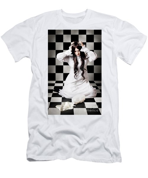 Retro Girl Crying Over A Glass Of Spilt Milk Men's T-Shirt (Athletic Fit)
