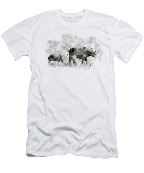 Rhinoceros And Baby Men's T-Shirt (Slim Fit) by Marlene Watson