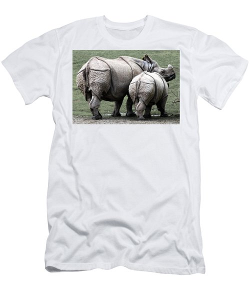 Rhinoceros Mother And Calf In Wild Men's T-Shirt (Slim Fit) by Daniel Hagerman