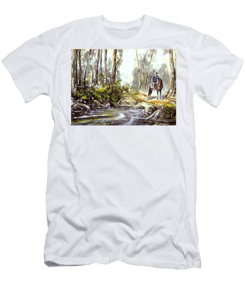 Men's T-Shirt (Athletic Fit) featuring the painting Rider By The Creek by Ryn Shell