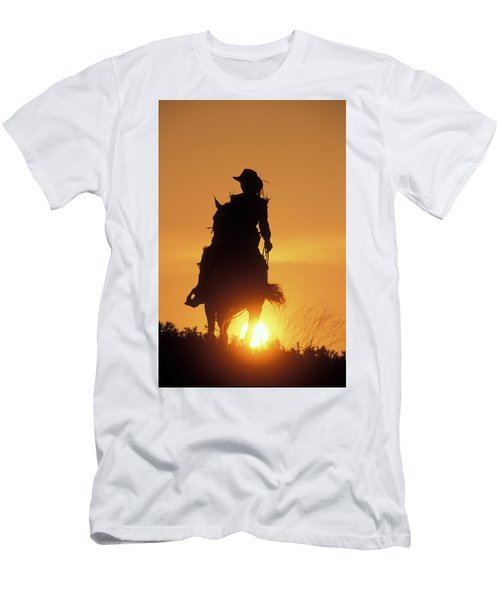 Riding Cowgirl Sunset Men's T-Shirt (Athletic Fit)