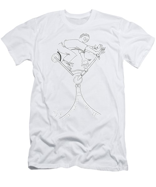 Riding The Spine Ramp - Microscooter Cartoon Men's T-Shirt (Athletic Fit)