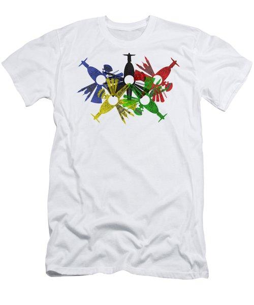 Rio De Janeiro Skyline In Various Colors Men's T-Shirt (Slim Fit) by Michal Boubin