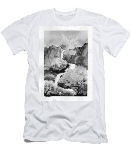 Men's T-Shirt (Athletic Fit) featuring the painting Riviere Celeste by Marc Philippe Joly