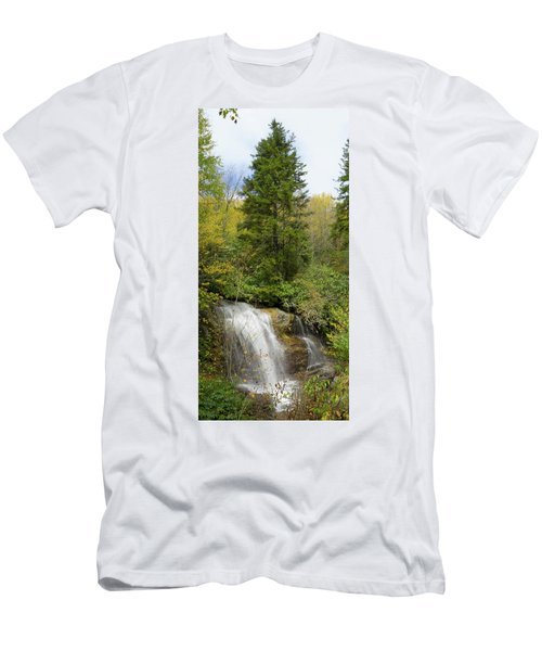Men's T-Shirt (Slim Fit) featuring the photograph Roadside Waterfall In North Carolina by Mike McGlothlen