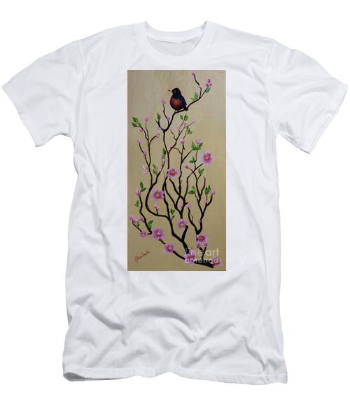 Robin And Spring Blossoms Men's T-Shirt (Athletic Fit)
