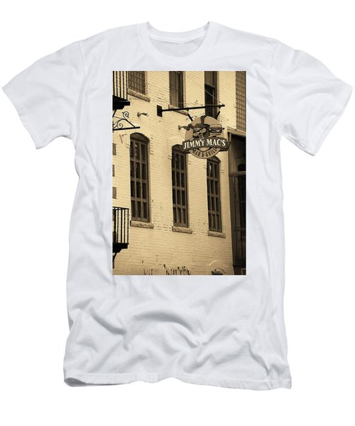 Men's T-Shirt (Slim Fit) featuring the photograph Rochester, New York - Jimmy Mac's Bar 3 Sepia by Frank Romeo