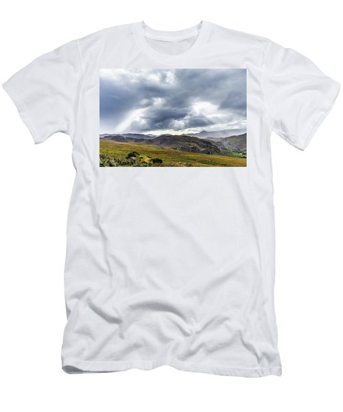 Men's T-Shirt (Slim Fit) featuring the photograph Rock Formation Landscape With Clouds And Sun Rays In Ireland by Semmick Photo