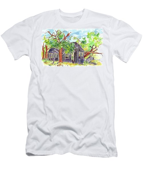 Men's T-Shirt (Slim Fit) featuring the painting Rockland Cabin by Cathie Richardson