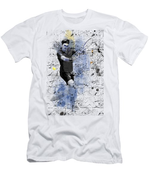Roger Federer Men's T-Shirt (Slim Fit) by Marlene Watson