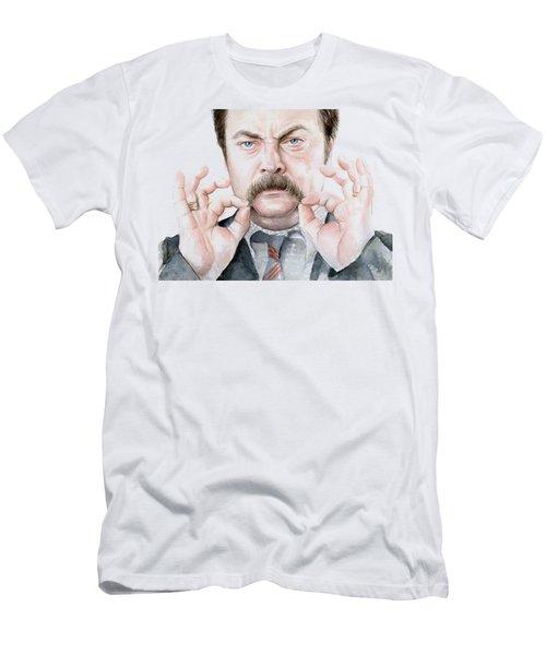 Ron Swanson Mustache Portrait Men's T-Shirt (Slim Fit) by Olga Shvartsur