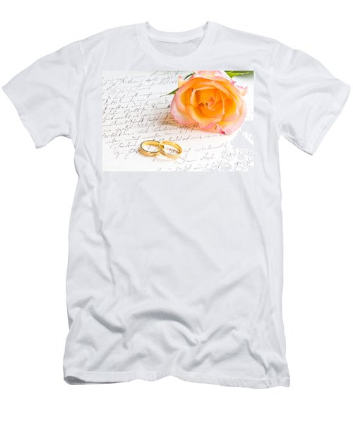 Rose And Two Rings Over Handwritten Letter Men's T-Shirt (Athletic Fit)