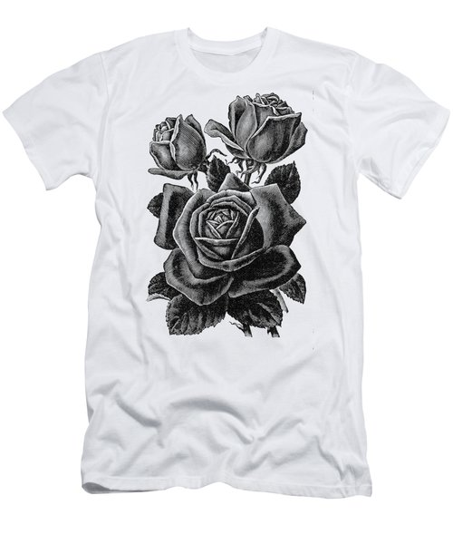 Men's T-Shirt (Athletic Fit) featuring the digital art Rose Black by ReInVintaged