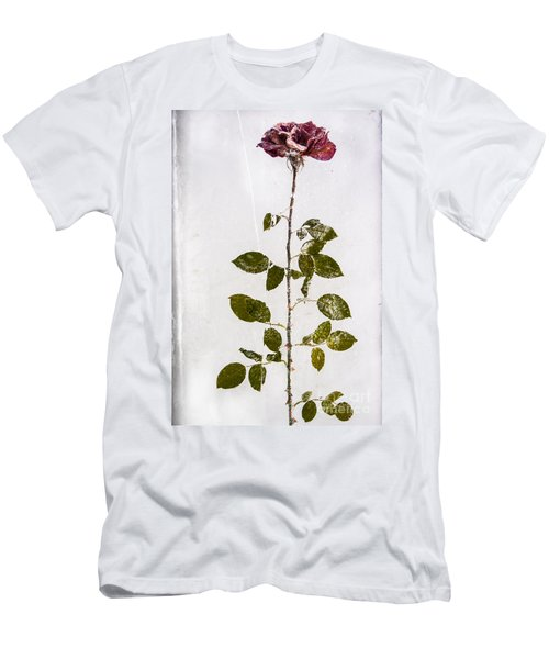 Men's T-Shirt (Athletic Fit) featuring the photograph Rose Frozen Inside Ice by John Wadleigh