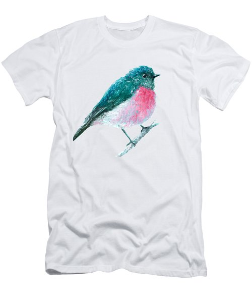 Rose Robin Oil Painting Men's T-Shirt (Athletic Fit)
