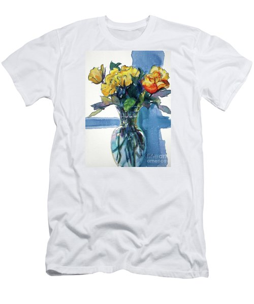 Roses In Vase Still Life I Men's T-Shirt (Slim Fit) by Kathy Braud