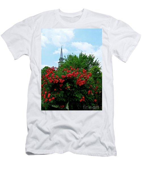 Roses On The Fence In Mauricetown Men's T-Shirt (Slim Fit) by Nancy Patterson