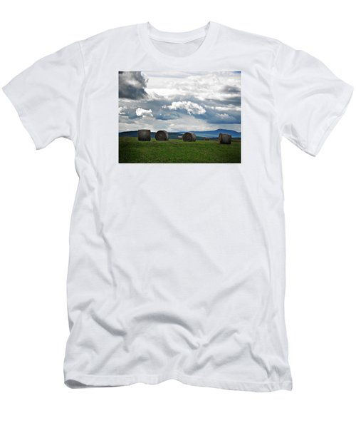 Round Bales Under A Cloudy Sky Men's T-Shirt (Athletic Fit)