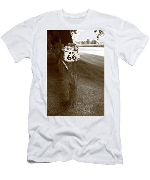 Men's T-Shirt (Slim Fit) featuring the photograph Route 66 Shield And Fence Sepia Post by Frank Romeo