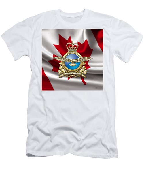 Royal Canadian Air Force Badge Over Waving Flag Men's T-Shirt (Slim Fit) by Serge Averbukh