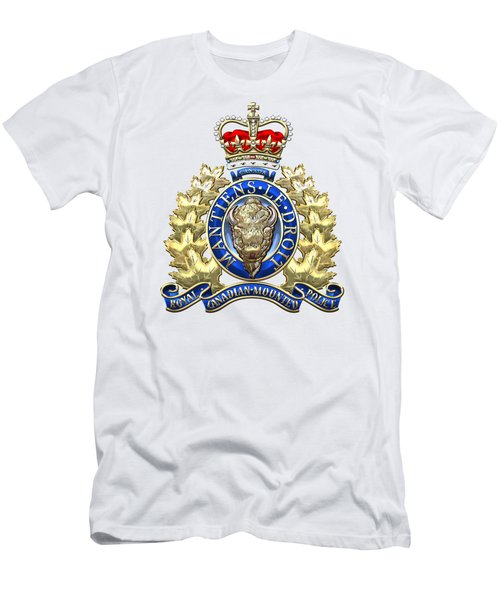 Royal Canadian Mounted Police - Rcmp Badge On White Leather Men's T-Shirt (Slim Fit) by Serge Averbukh