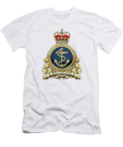Men's T-Shirt (Slim Fit) featuring the digital art Royal Canadian Navy  -  R C N  Badge Over White Leather by Serge Averbukh