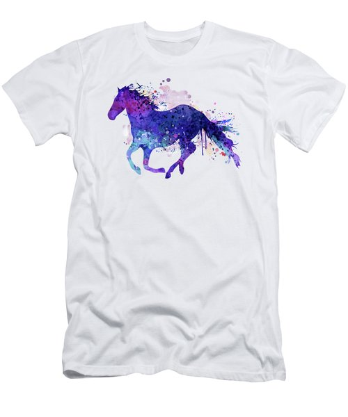 Running Horse Watercolor Silhouette Men's T-Shirt (Athletic Fit)