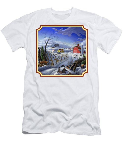 Rural Winter Country Farm Life Landscape - Square Format Men's T-Shirt (Slim Fit) by Walt Curlee