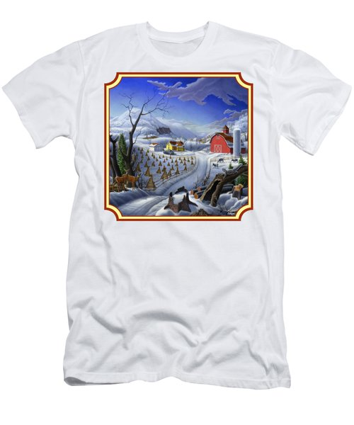 Rural Winter Country Farm Life Landscape - Square Format Men's T-Shirt (Athletic Fit)
